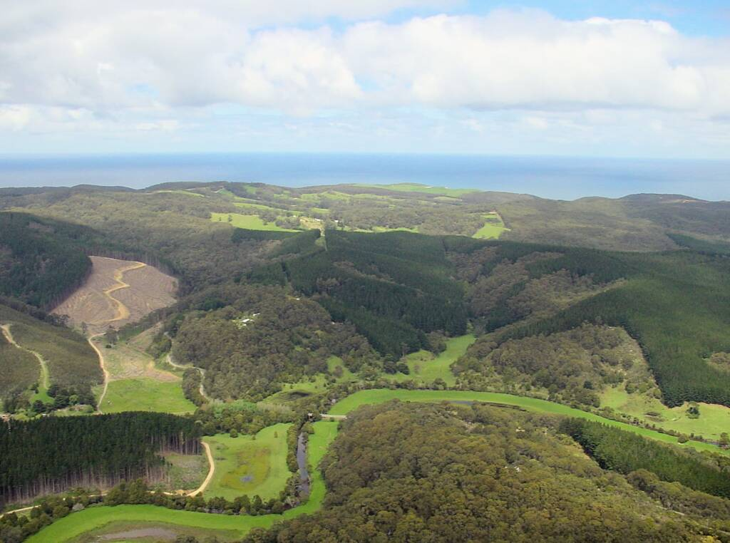 Aerial view over surrounds of the Great Ocean Road, VIC