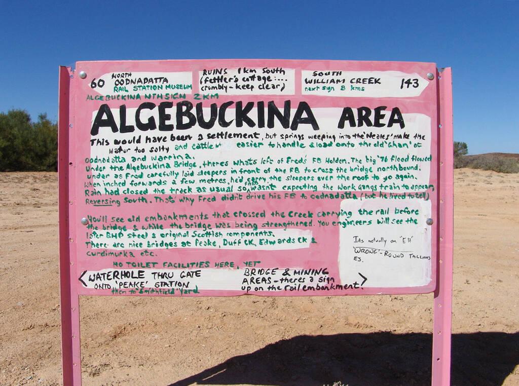 Algebuckina Area signage