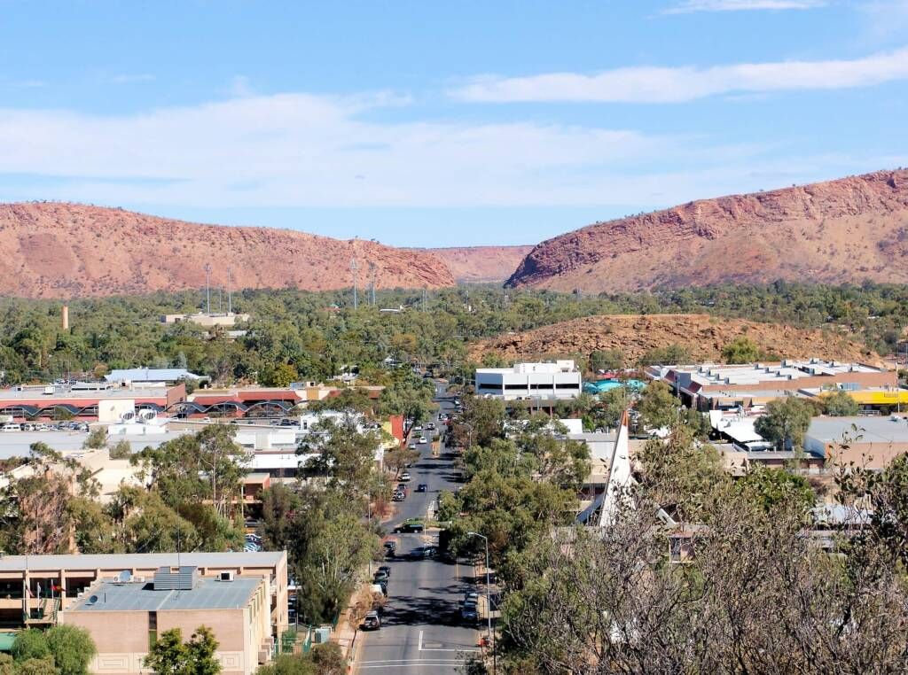 View across Alice Springs to The Gap