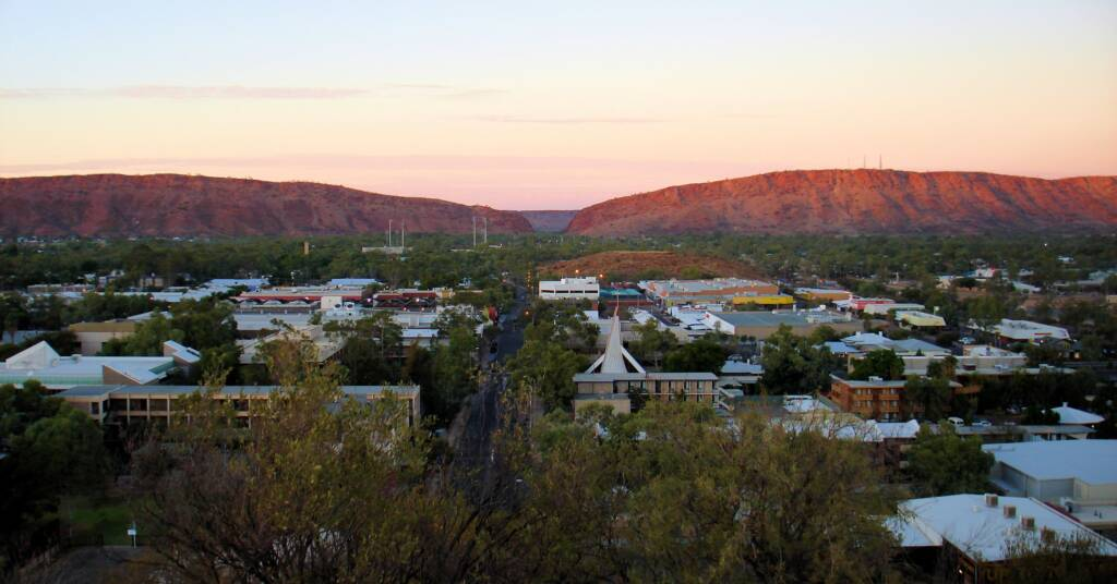 View south over Alice Springs toward Heavitree Gap.