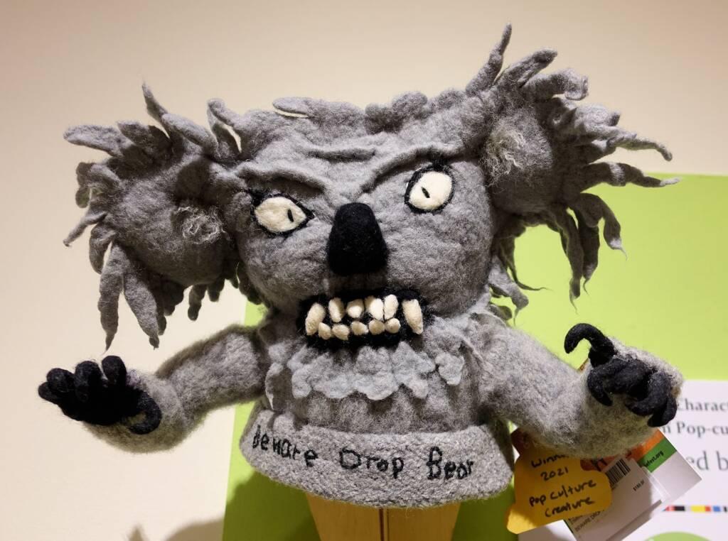 """""""Beware Drop Bear"""" by Marilyn Hunter, Alice Springs Beanie Festival 2021"""