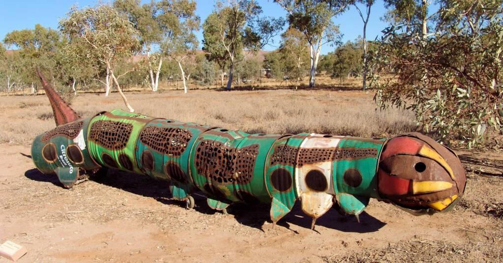 Canapillar - Artist Al Bethune. 2008 Exhibition, Olive Pink Botanic Garden, Alice Springs