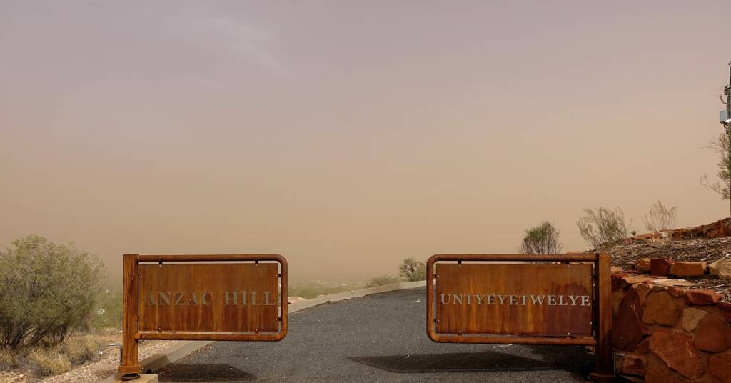 Dust storm over Anzac Hill / Untyeyetwelye, 1 Dec 2020