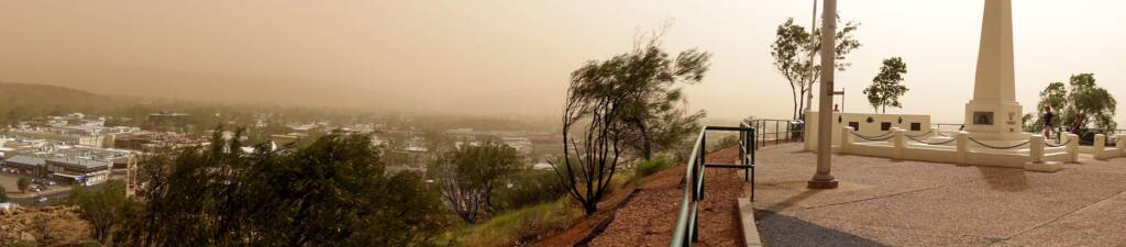 Viewing the Alice Springs dust storm from Anzac Hill, 1 Dec 2020