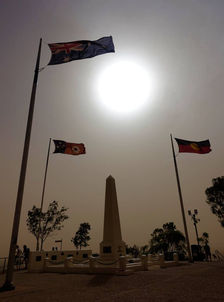 Dust storm over Anzac Hill, 18:35 hrs 1 Dec 2020