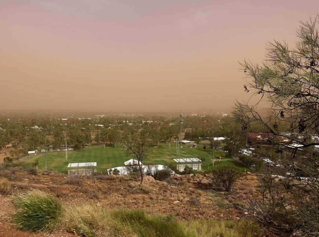 Dust storm over Alice Springs (looking east), 1 Dec 2020