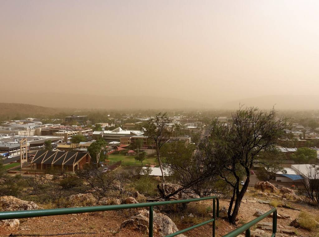 Dust storm over Alice Springs (from Anzac Hill looking south to Heavitree Gap), 1 Dec 2020