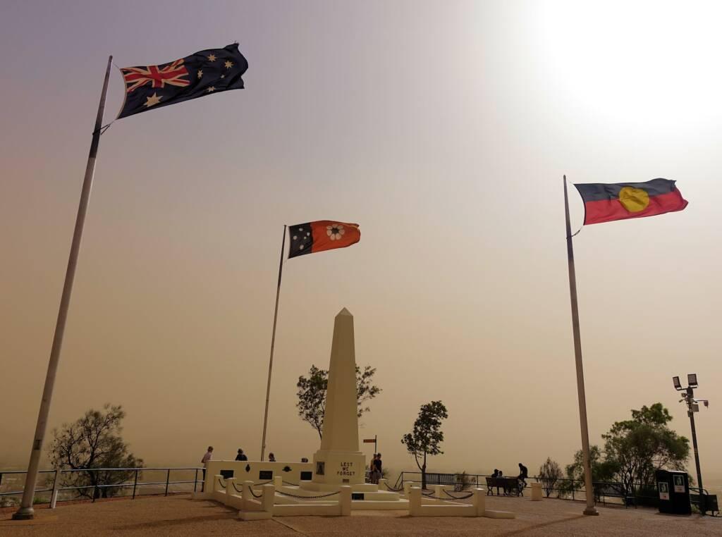 Dust storm over ANZAC Hill War Memorial, Alice Springs, NT