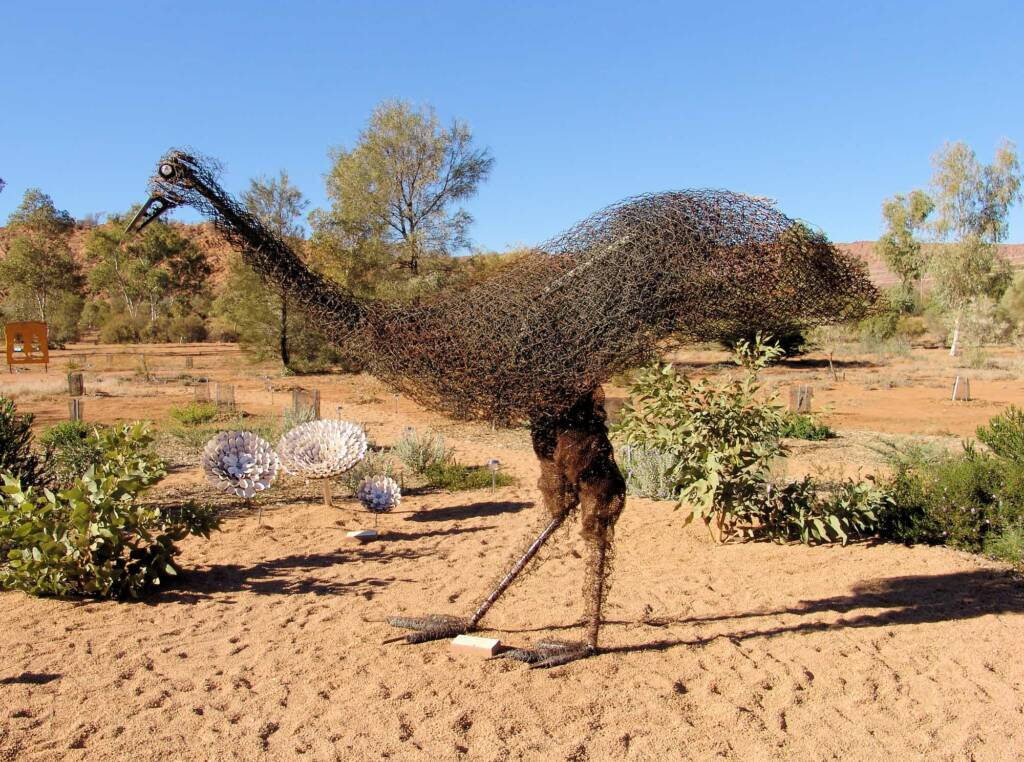 Emu by artist Al Bethune, 2008 Exhibition (Permanent display Olive Pink Botanic Garden, Alice Springs)