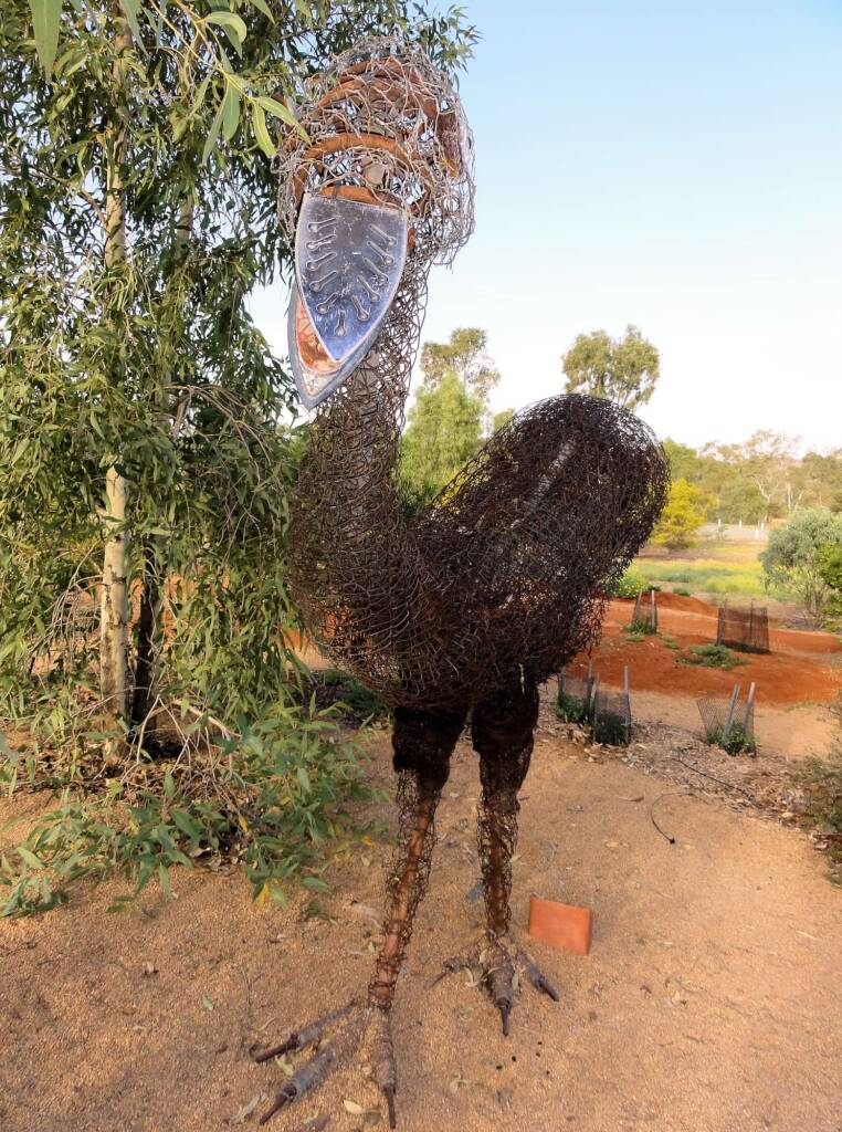 Emu by artist Al Bethune (Permanent display Olive Pink Botanic Garden, Alice Springs)