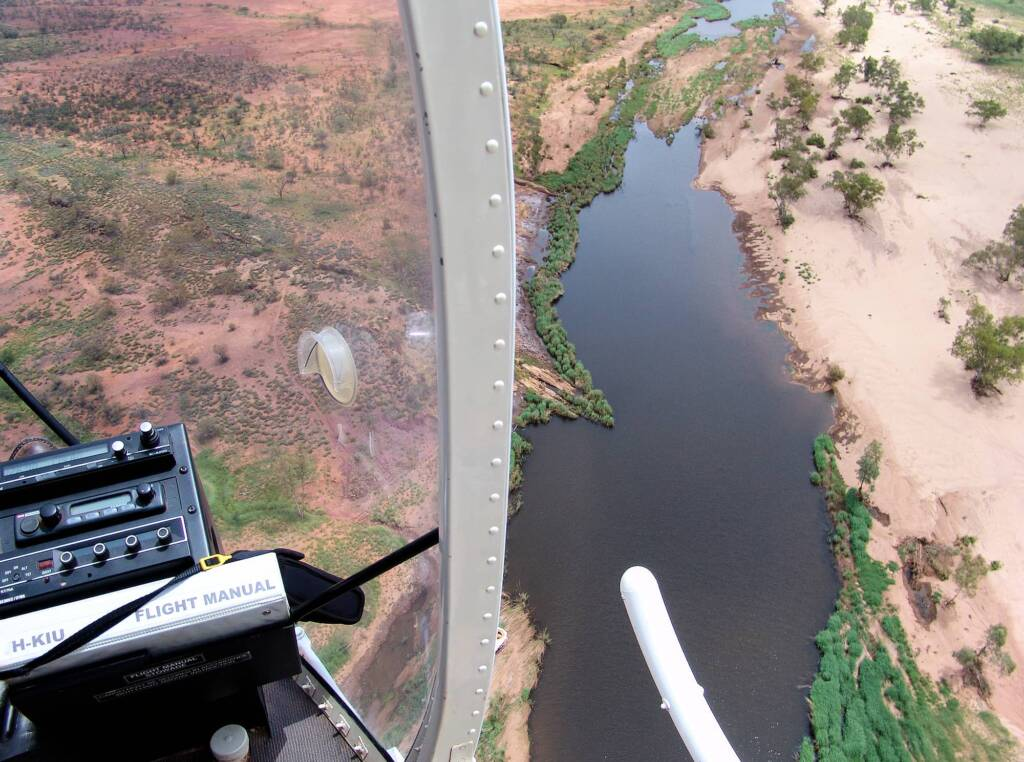 Aerial view over Finke River, West MacDonnell Ranges, NT - Helicopter tour