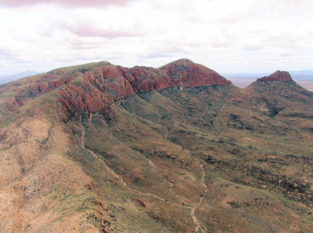 Aerial view over Mount Sonder, West MacDonnell Ranges National Park, NT