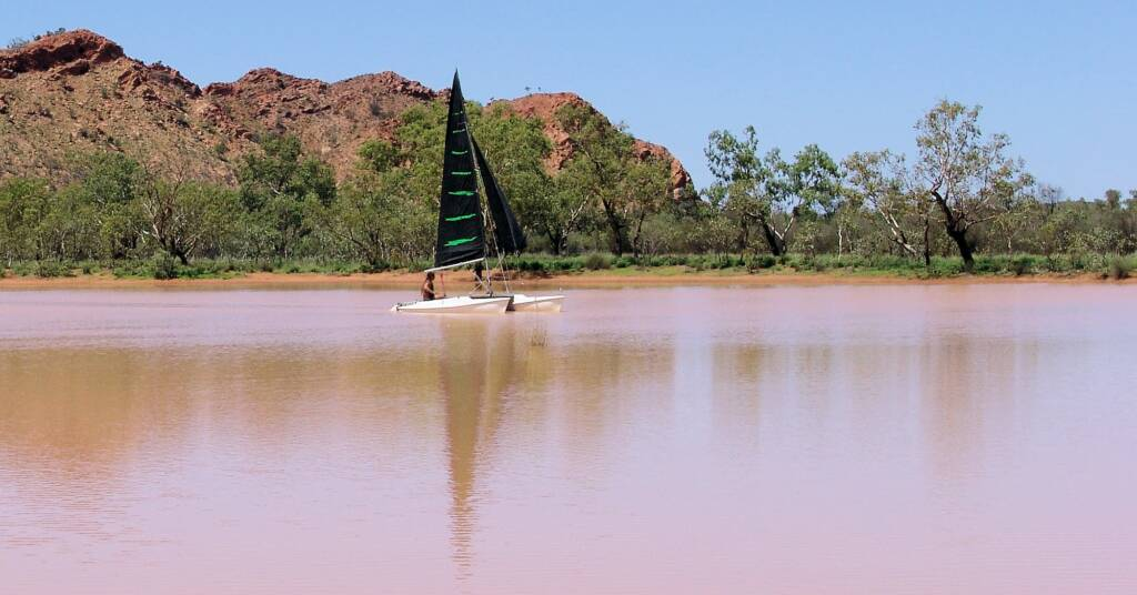 Sailing on the Ilparpa Claypans, Alice Springs