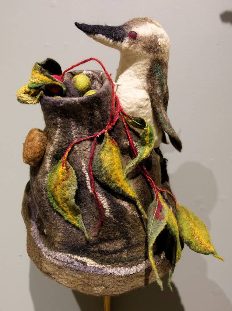 Kookaburra Up In The Old Gum Tree by artist Jacqueline Gibson, Alice Springs Beanie Festival, 2018