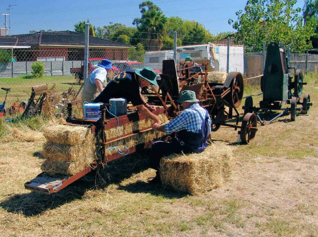 Polyester twine was not available when this bale maker was first used, Kyabram Engine Rally (2006)