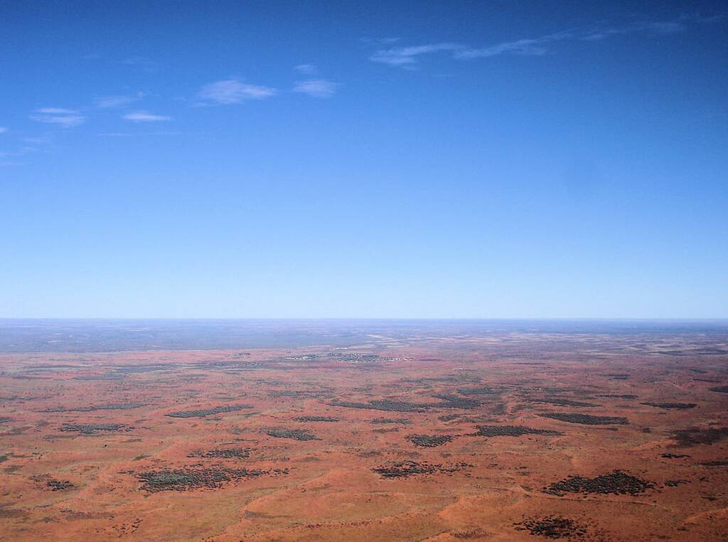 Landscape around Uluru from the air
