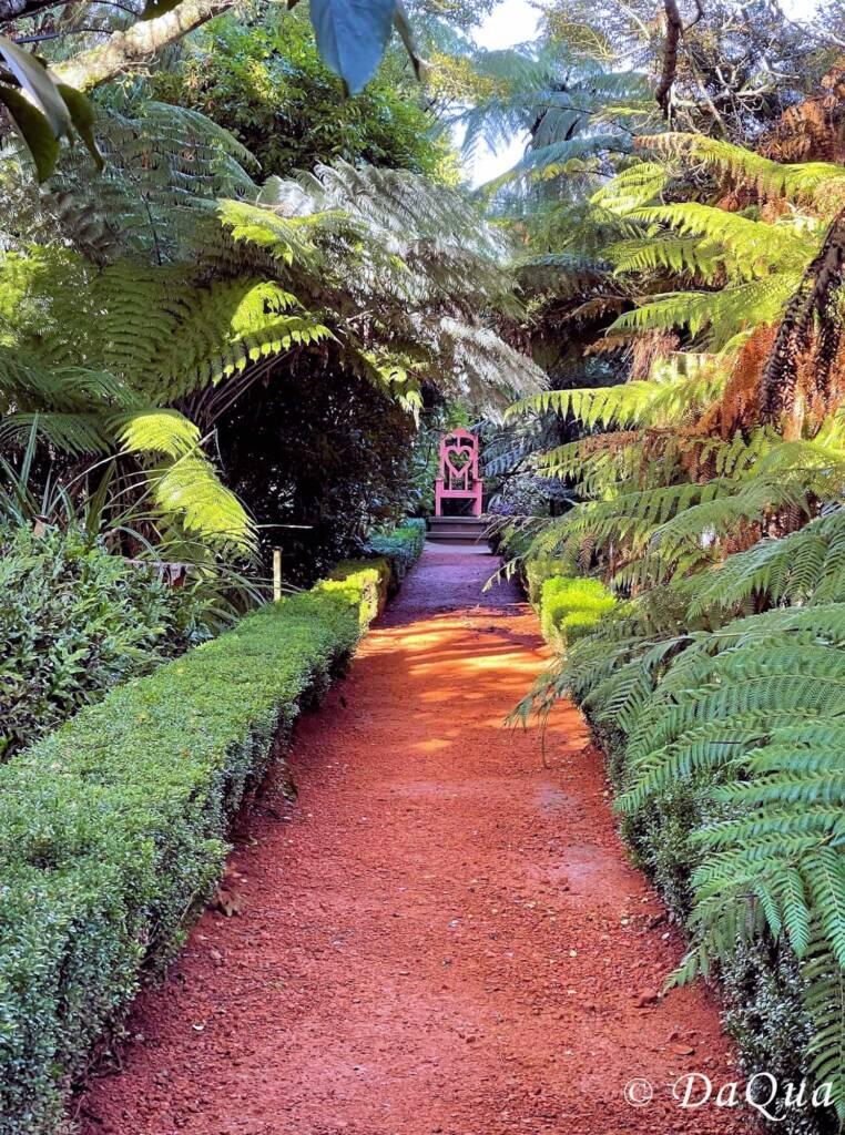 Queen of Hearts Chair, Larnach Castle Gardens, Dunedin, New Zealand