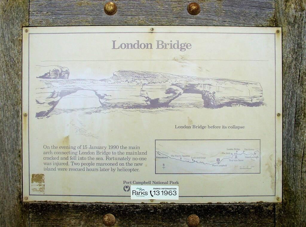 London Bridge signage, Great Ocean Road, VIC