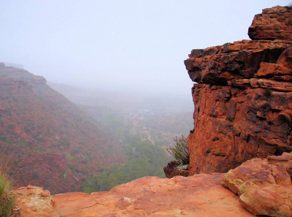 Looking down on rainy morning from Rim Walk, Kings Canyon