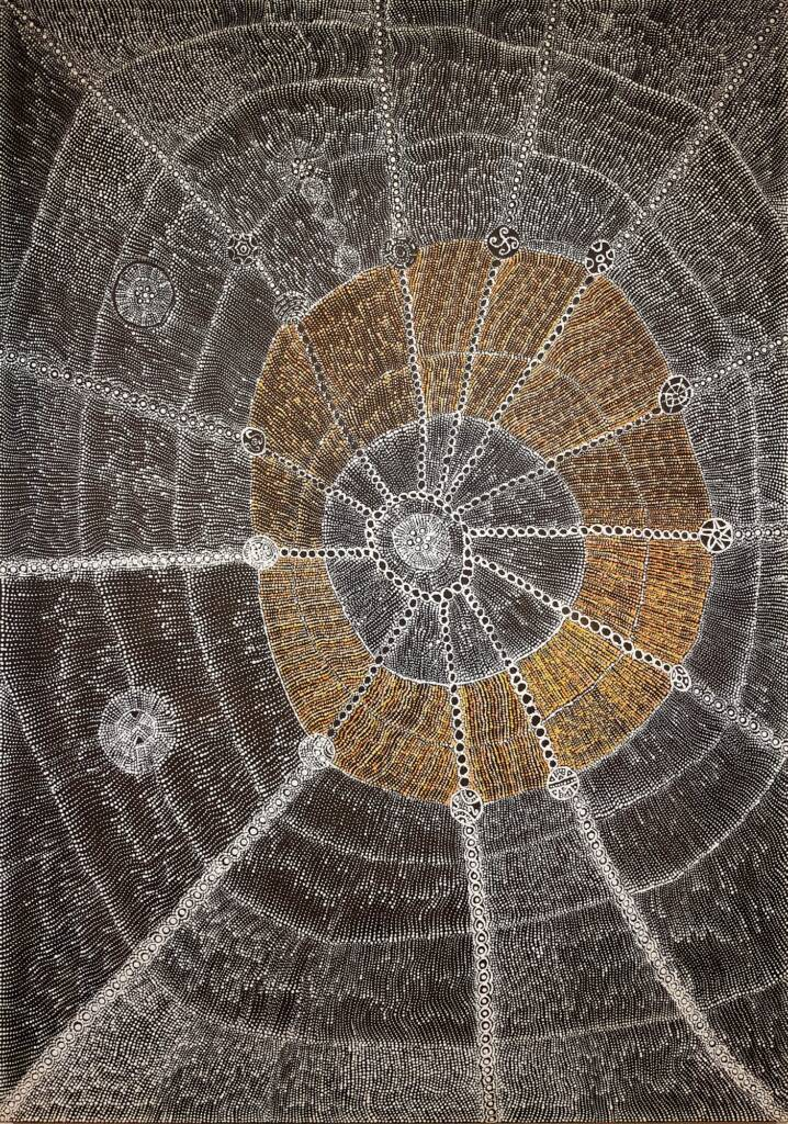 Lukarrara Jukurrpa (Desert Fringe-rush Seed Dreaming by Hilda Nakamarra Rogers