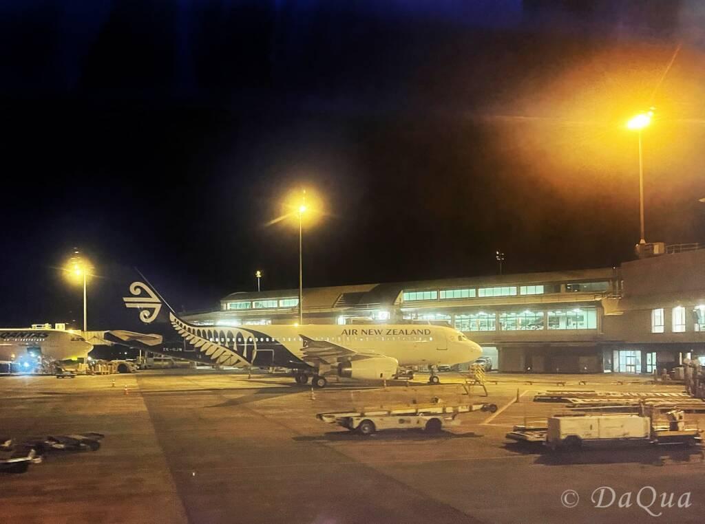 Melbourne Airport Air New Zealand flight preparing for departure by Da Qua