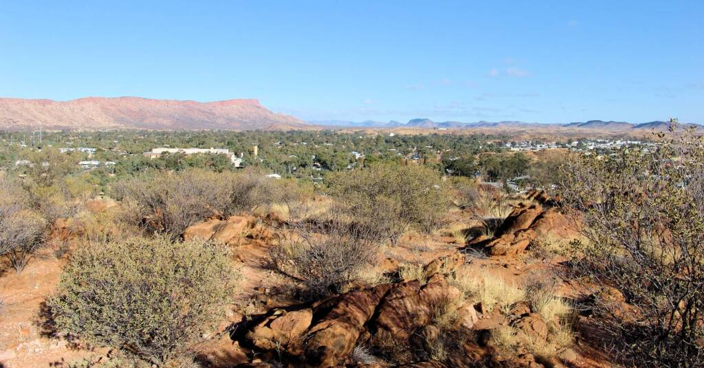 View across Alice Springs to Mount Gillen from Meyer Hill in the Olive Pink Botanic Garden.