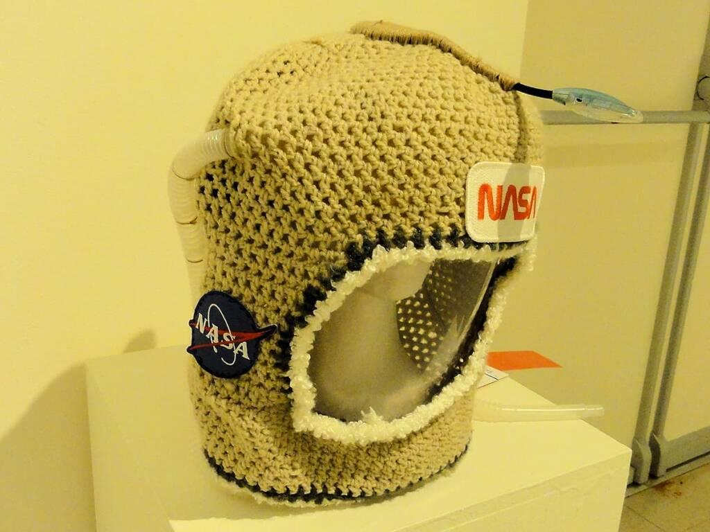 Neil Yarnstrong (Crochet Robot) by artist K Malinski, Sunnycoast QLD, Alice Springs Beanie Festival, 2014