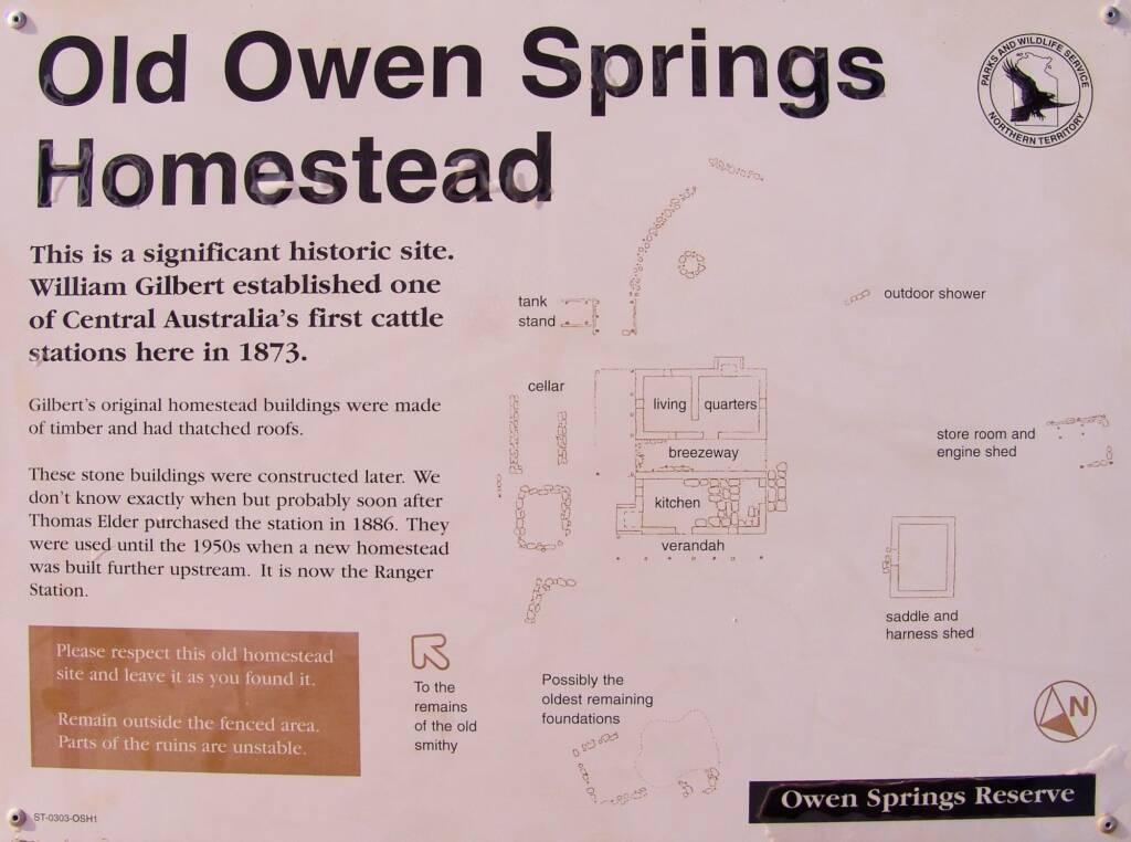 Old Owen Springs Homestead signage