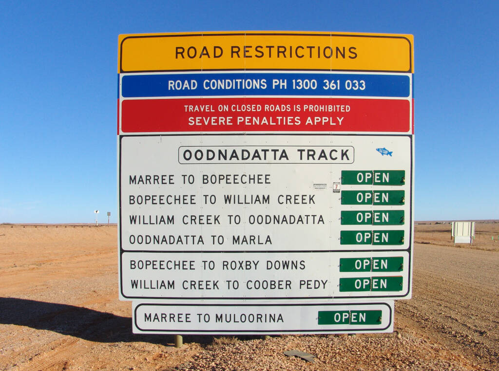 Oodnadatta Track Road Restrictions sign (from Marree)