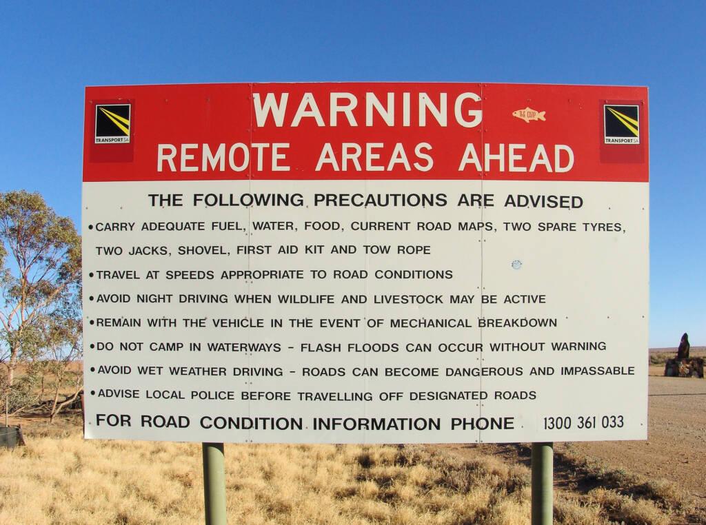 Warning Remote Areas Ahead sign (Oodnadatta Track)
