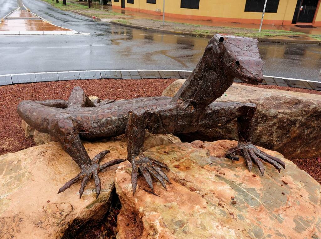 Perentie by Artist Dan Murphy, 26 March, 2015 (at the Undoolya Rd roundabout)