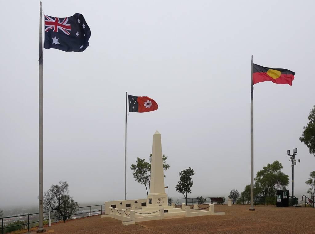 Rain over ANZAC Hill War Memorial, Alice Springs, NT