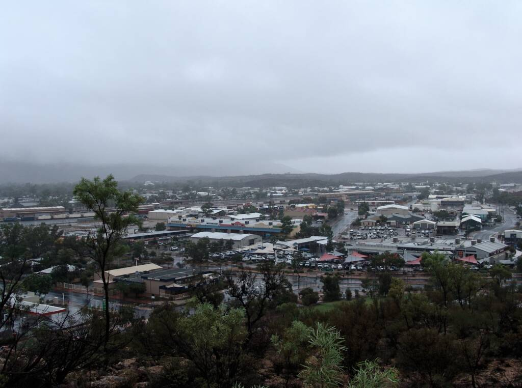 Rain view north-west over Alice Springs from Anzac Hill, 9 Jan 2010