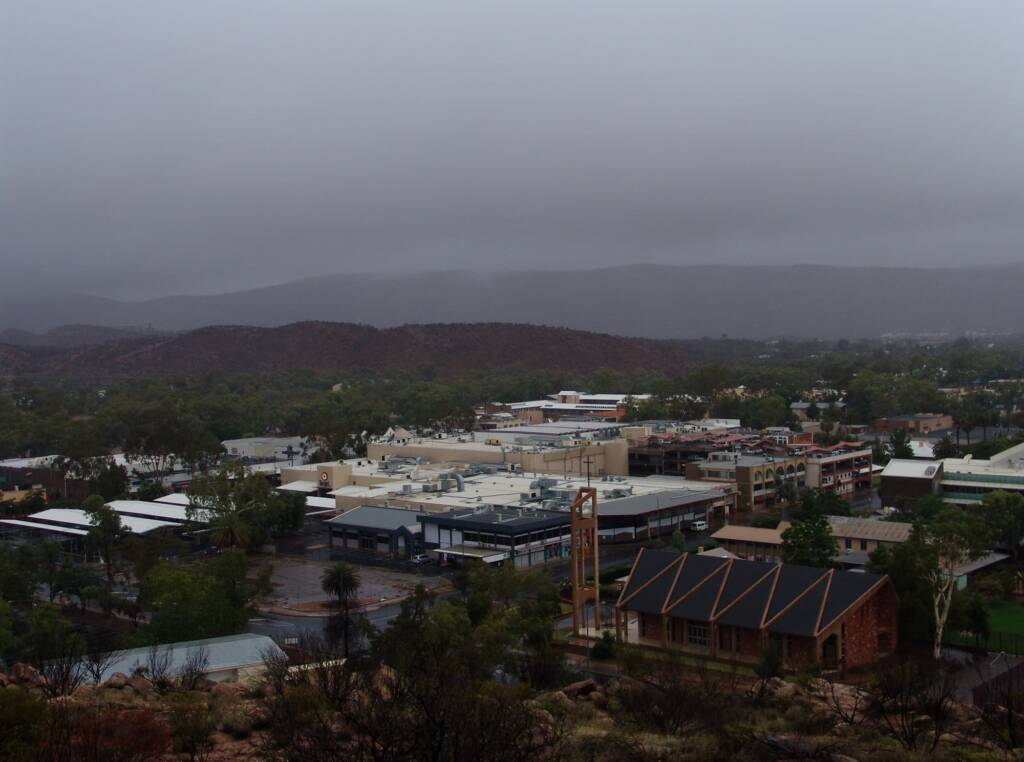 Rain view south-east over Alice Springs from Anzac Hill, 9 Jan 2010