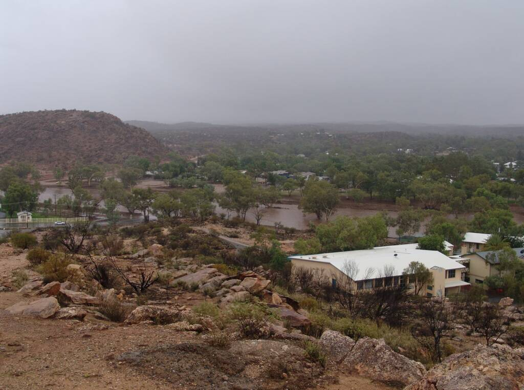 Rain view over the swollen Todd River, Alice Springs from Anzac Hill, 9 Jan 2010