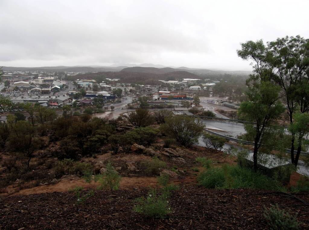 Rain view north over Alice Springs from Anzac Hill, 9 Jan 2010
