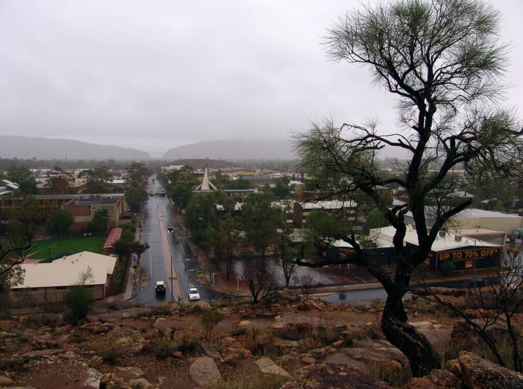 Rain view south over Alice Springs from Anzac Hill, 9 Jan 2010