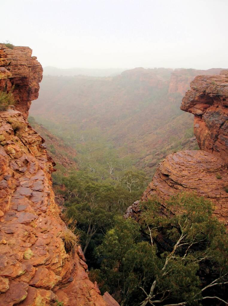 Rain over Kings Canyon valley floor