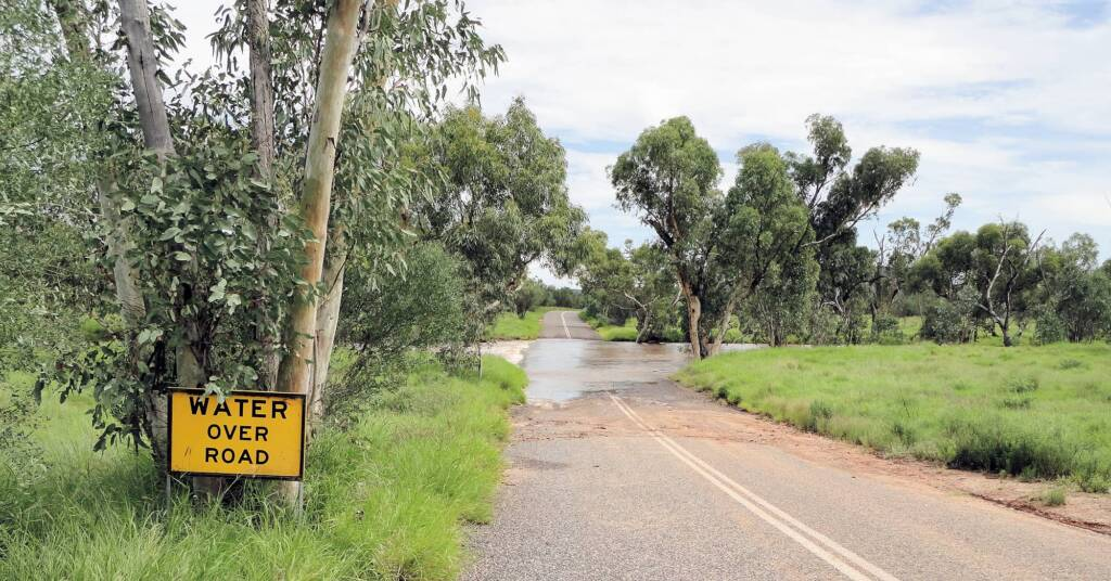 Water over road (Roe Creek) on Darken Road, Simpsons Gap, 19 Mar 2011