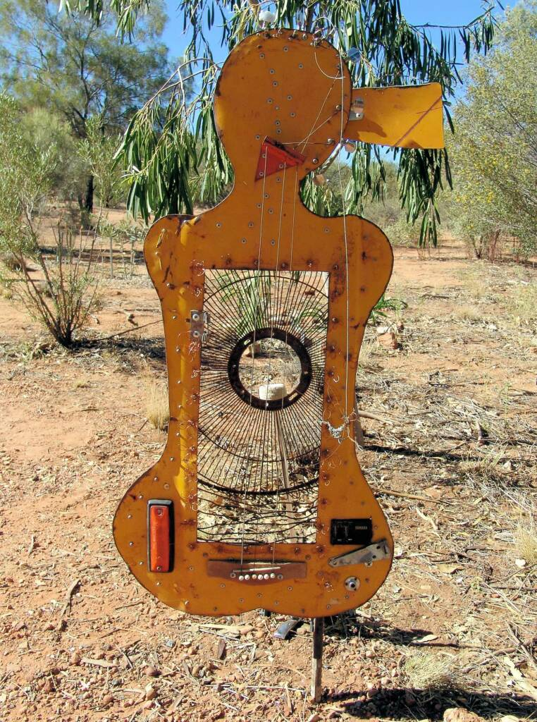Sister (part of Songline Series), artist Al Bethune - (bonnet cut-out, guitar bits, story wires)