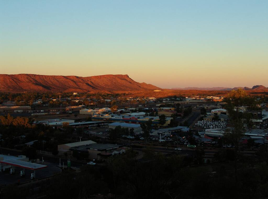 Sunrise over Mount Gillen from Anzac Hill, Alice Springs