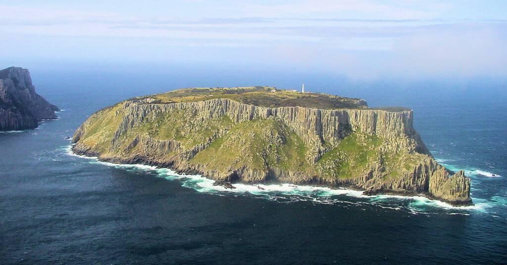 Aerial view over Tasman Island, Tasmania, Australia