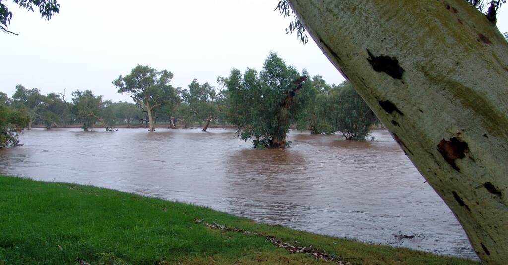 Water flowing through the Todd River (from bank to bank), Alice Springs, 9 Jan 2010
