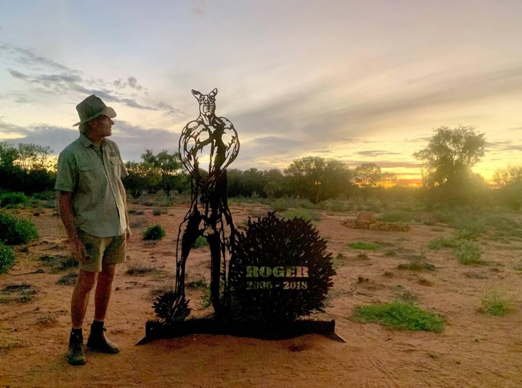 Brolga next to the Roger memorial at the Kangaroo Sanctuary, Alice Springs