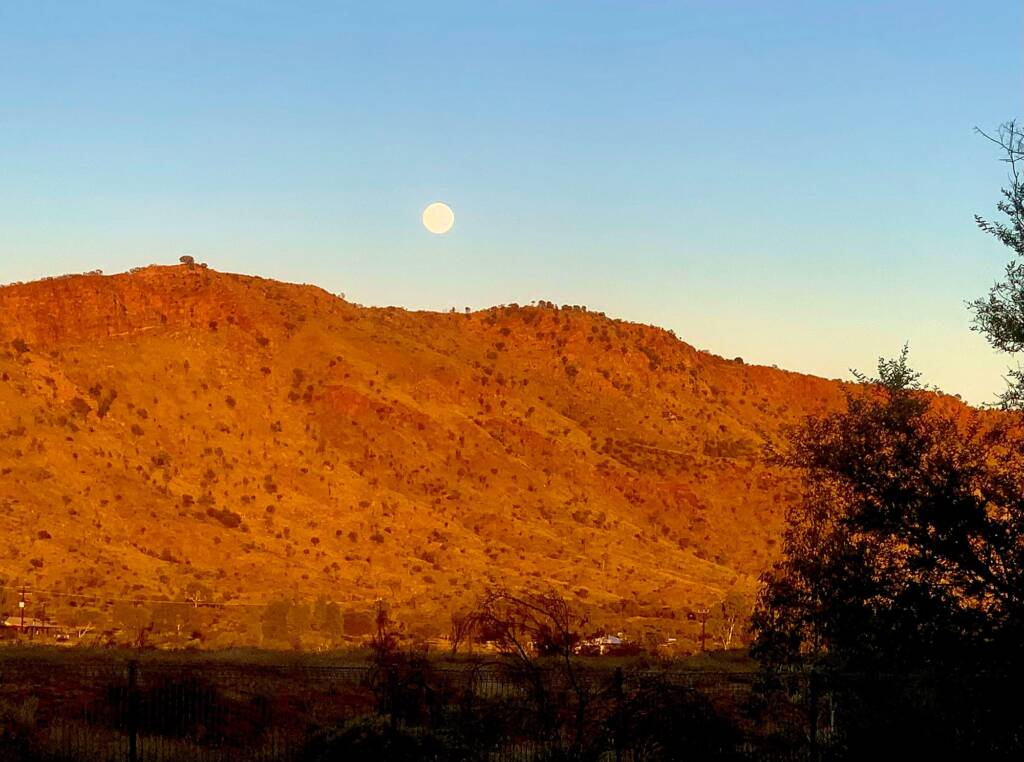 Moon over MacDonnell Ranges