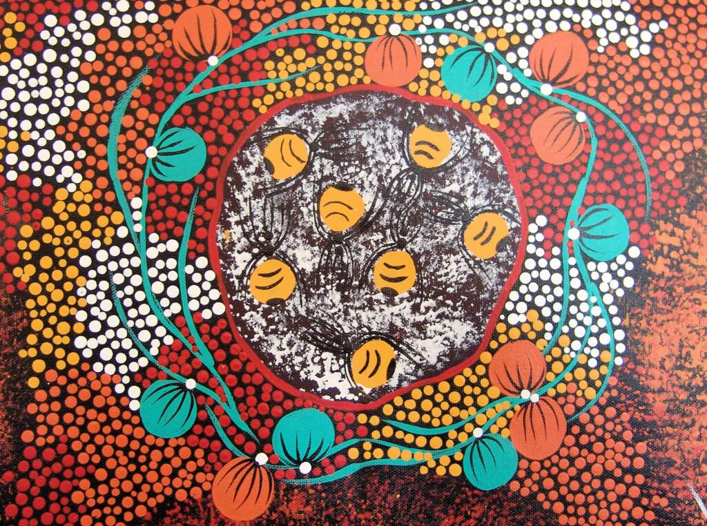 Bush tomato and honey ants (extract from painting), 2008 © Trephina Sultan Thanguwa