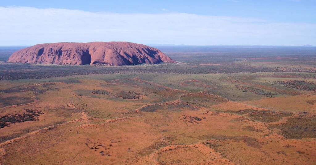 Uluru from the air and the amazing landscape