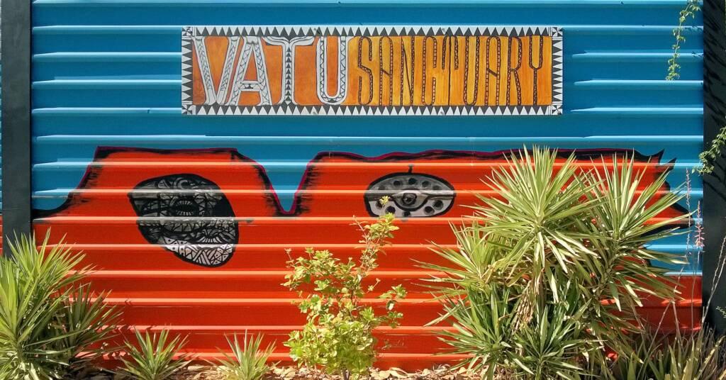 Vatu Sanctuary mural (The Bure) by Rusiate Lali