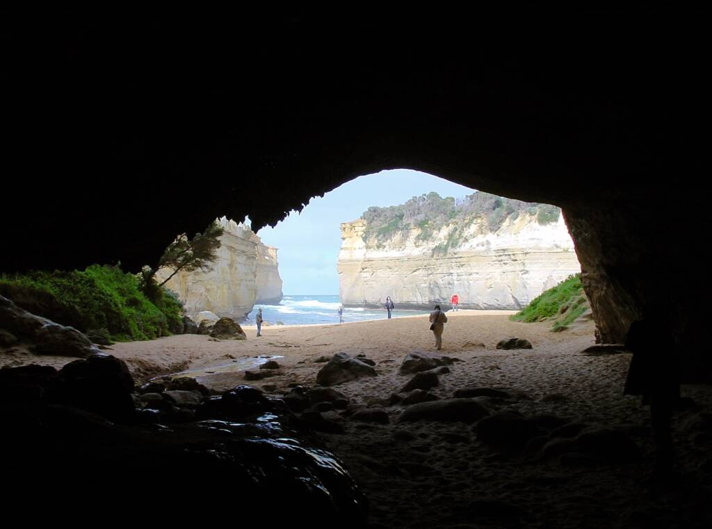 View out from Loch Arch Gorge cave, Great Ocean Road, VIC