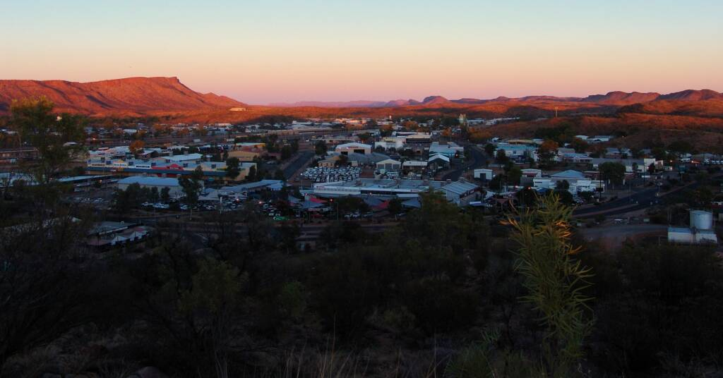 Sunset view west over Alice Springs and beyonds and beyond
